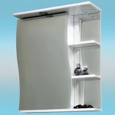 Зеркальный шкаф САНТА ВОЛНА 50 белый, 1 шкаф слева, 1 светильник, 3 полки 500х700х235