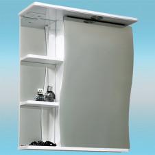 Зеркальный шкаф САНТА ВОЛНА 50 белый, 1 шкаф справа, 1 светильник, 3 полки 500х700х235