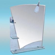 Зеркало LEDEME L612 асимметричное с серыми краями, двухслойное, 3 полочки 900х700