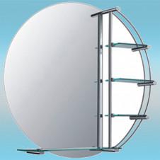 Зеркало LEDEME L603 круглое с матовыми серыми краями, 4 полочки 800х800
