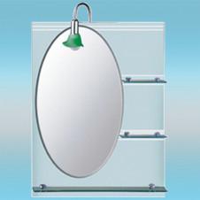 Зеркало LEDEME L607 овальное со свето-зелеными краями, 3 полочки 800х600