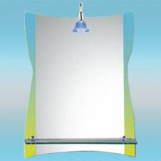 Зеркало LEDEME L610 прямоугольное с желто-голубыми краями, 1 полочка 800х600