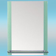 Зеркало LEDEME L618 прямоугольное с зеленым капельками, 1 полочка 800х600