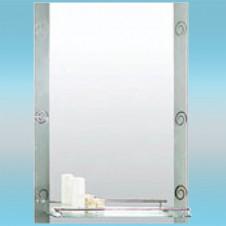 Зеркало LEDEME L601 прямоугольное с серебряными краями, 1 полочка 800х600