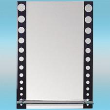 Зеркало LEDEME L619 прямоугольное с черно-белым горохом, 1 полочка 700х500