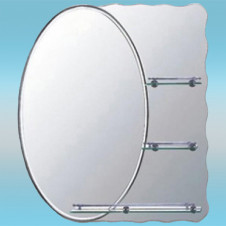 Зеркало LEDEME L609 овальное с матовым серым краем, 3 полочки 800х700