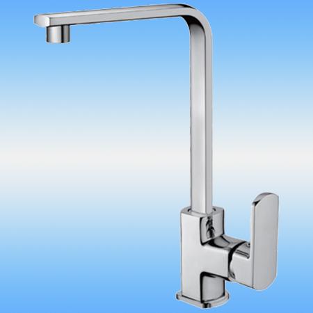 Смеситель для кухни FRAP F4073 однорычажный, высокий плоский илив, на гайке, хром