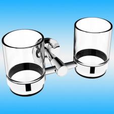 Держатель для 2-х стаканов RUSH BALEARIC BA39320 настенный, металлический, хром