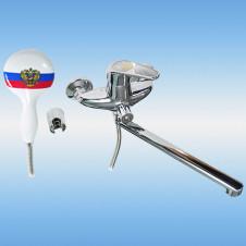 Смеситель дл ванной/душа RUSSIA 2770, длинный нос, ручка и лейка с гербом