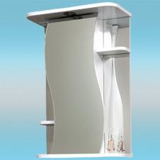 Зеркальный шкаф САНТА ЛИРА 50 белый, 1 шкаф по центру, 1 светильник, 3 полки 500х730х240