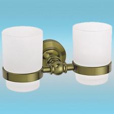 Держатель для 2-х стаканов LEDEME L1308C настенный, металлический, бронза