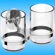 Держатель для 2-х стаканов RUSH FIJI FI18320 настенный, металлический, хром